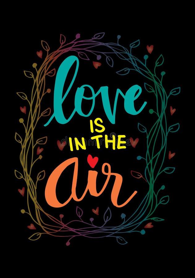 Förälskelse är i luftinskriften royaltyfri illustrationer
