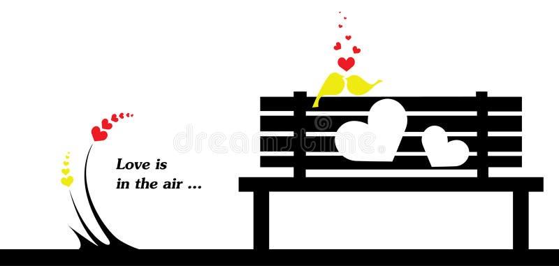 Förälskelse är i luftvalentins kortet för gåvan för dag vektor illustrationer
