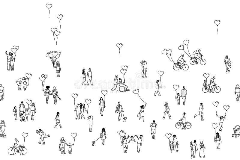 Förälskelse är lite varstans - det sömlösa banret vektor illustrationer
