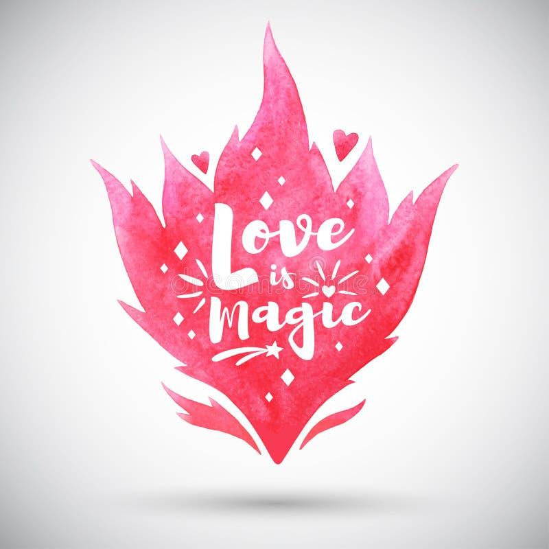 Förälskelse är magisk bokstäver, valentindagillustration stock illustrationer