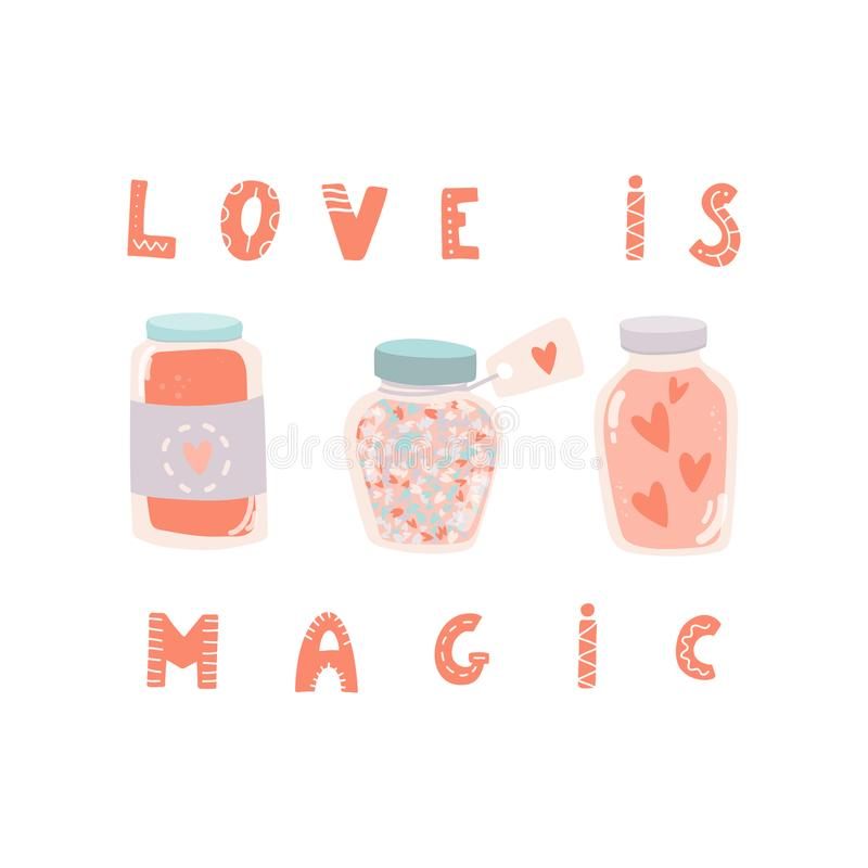 Förälskelse är magisk Hand dragen bokstäver och krus med hjärtor Dagen för valentin` s, sparar datum- eller bröllopkortmallen royaltyfri illustrationer