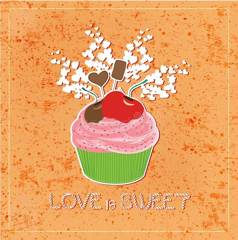 Förälskelse är söt som muffin royaltyfri illustrationer