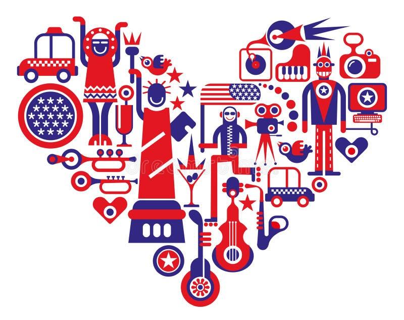 Förälskelse Amerika vektor illustrationer