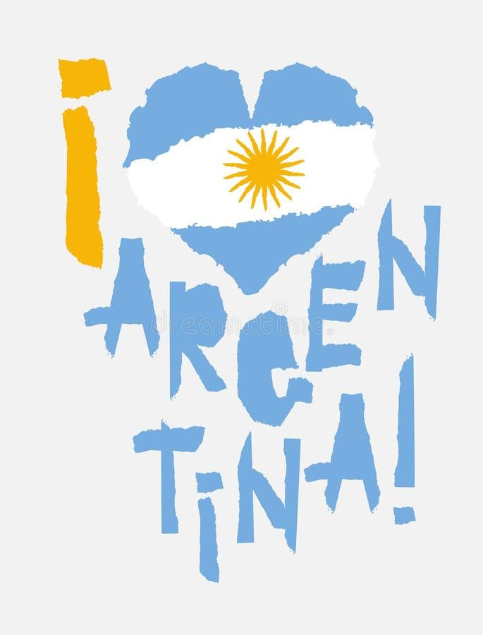 Förälskelse Argentina, Amerika Tappningnationsflagga i kontur av för grungetextur för hjärta sönderriven pappers- stil vektor för stock illustrationer