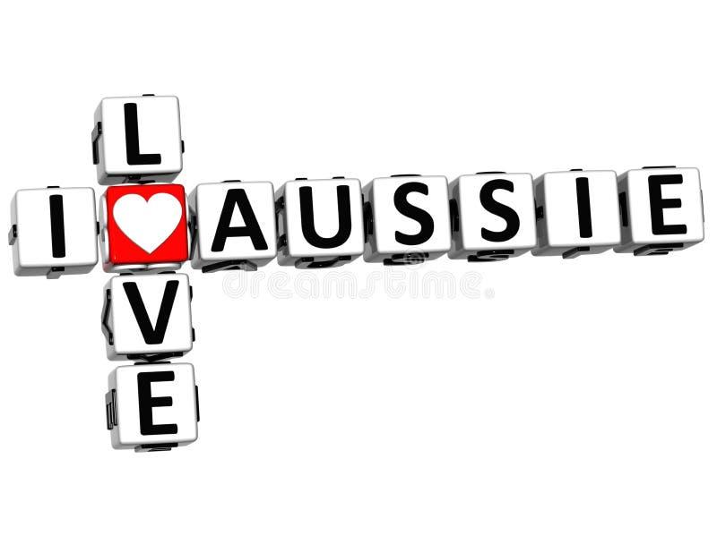 förälskelse Aussie Crossword för 3D I royaltyfri fotografi
