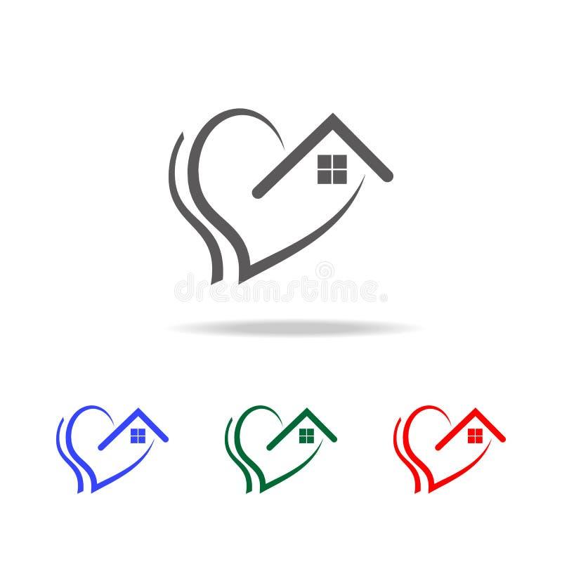 förälskelse av den hem- symbolen Beståndsdelar av valentin \ 's-dagen i mång- kulöra symboler Högvärdig kvalitets- symbol för gra stock illustrationer