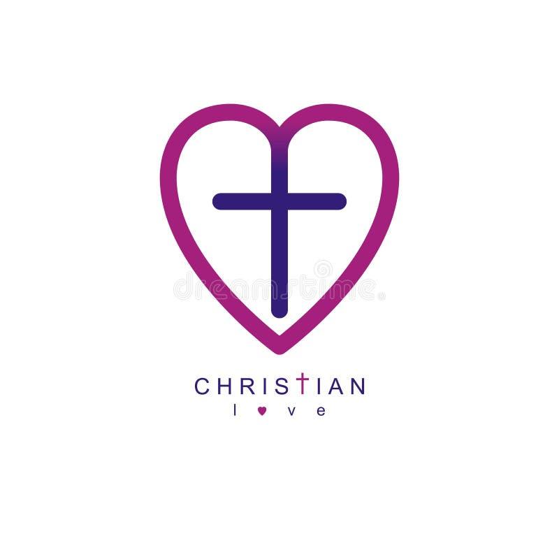 Förälskelse av det begreppsmässiga symbolet för guden kombinerade med Christian Cross och royaltyfri illustrationer