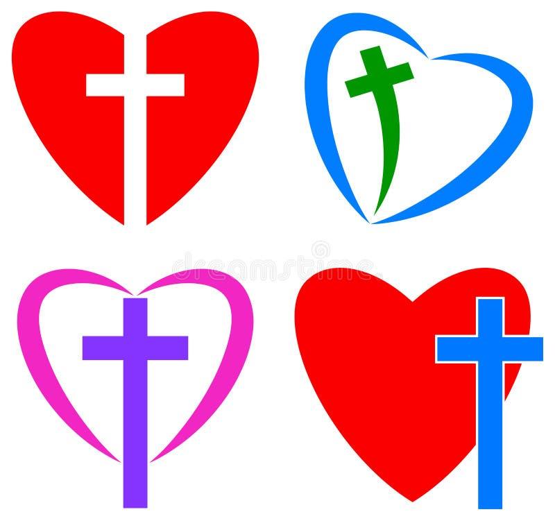 Förälskelse av guden kristenkors och hjärta vektor illustrationer