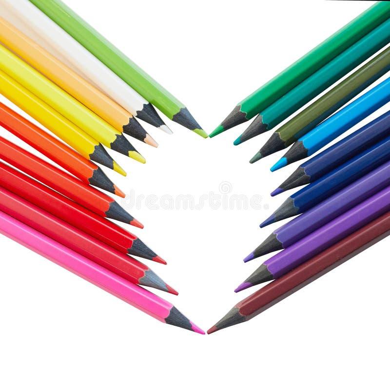 Förälskelse av teckningen regnbåge eller mångfärgat blyertspennahjärtasymbol arkivfoto