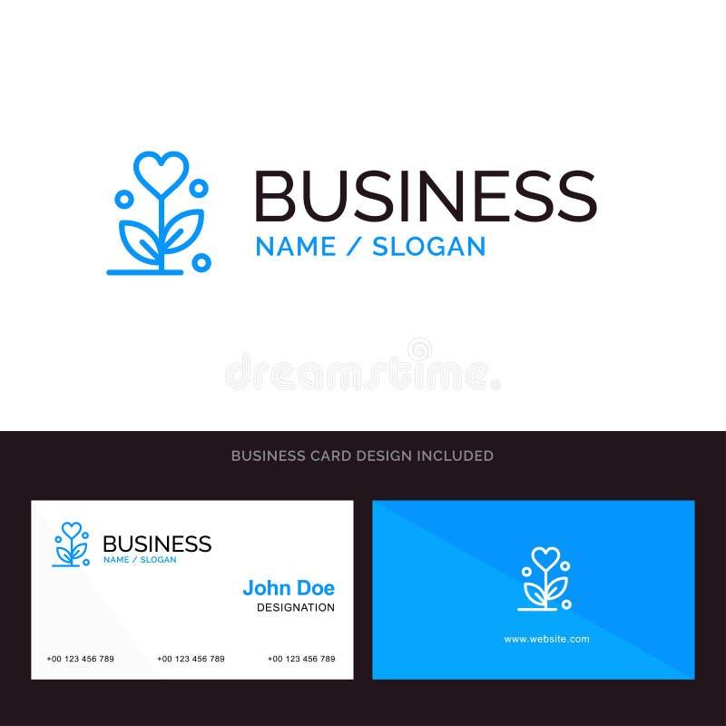 Förälskelse, blomma, bröllop, blå affärslogo för hjärta och mall för affärskort Framdel- och baksidadesign stock illustrationer