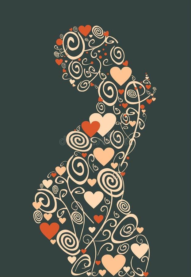 Förälskelse blommar kvinnan vektor illustrationer