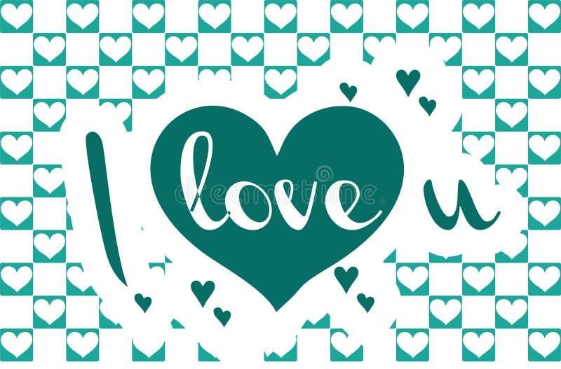 `-Förälskelse dig enkel bokstäver för ` i vektor med den dekorativa hjärtaklotterbeståndsdelen Elegant hand dragen design, romant royaltyfri illustrationer
