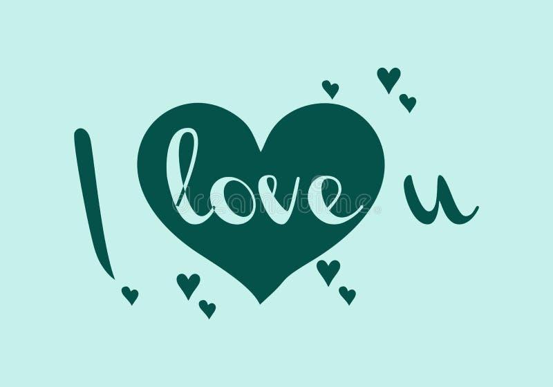 `-Förälskelse dig enkel bokstäver för ` in med den dekorativa hjärtaklotterbeståndsdelen Elegant hand dragen design, romantiskt b royaltyfri illustrationer
