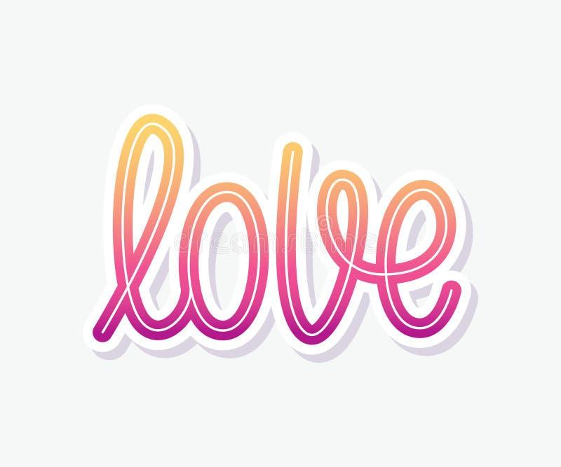 Förälskelse Enkelt ord Modern monolinekalligrafitext Beståndsdel för lyckliga Valentine Day också vektor för coreldrawillustratio vektor illustrationer