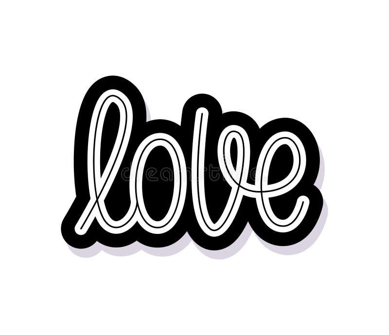 Förälskelse Enkelt ord Modern monolinekalligrafitext Beståndsdel för lyckliga Valentine Day också vektor för coreldrawillustratio stock illustrationer