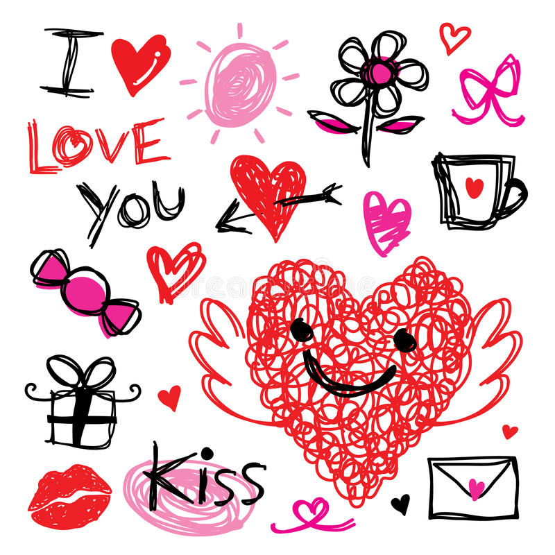 Förälskelse för älskling I dig Valentine Heart Cute Cartoon Vector royaltyfri illustrationer