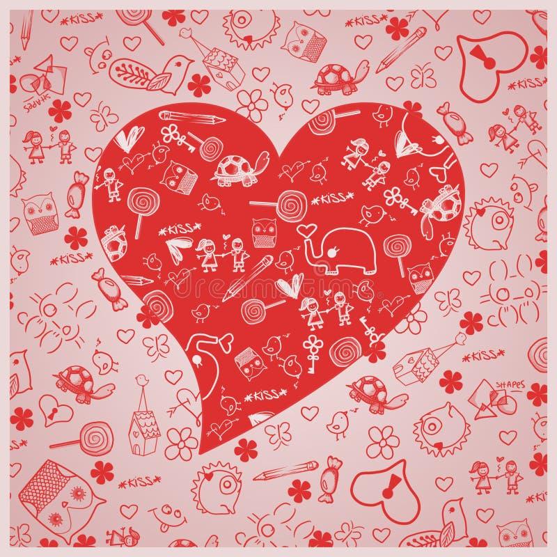 Förälskelse för dag för valentin` s - hjärtor - klottersamling vektor illustrationer