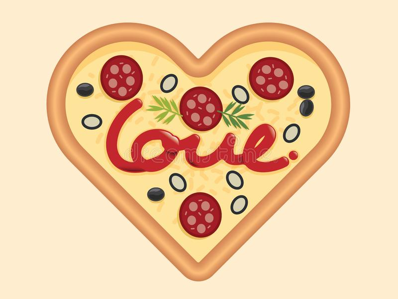 Förälskelse för designen för begrepp för pizzahjärtaform för valentindag Vec arkivfoto