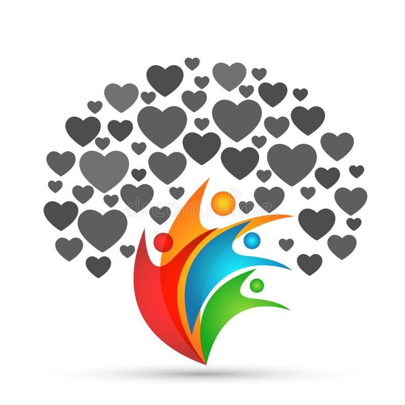 Förälskelse för gräsplan för ungar för förälder för familj för förälskelse för symbol för stamträdlogohjärta som uppfostrar vekto stock illustrationer