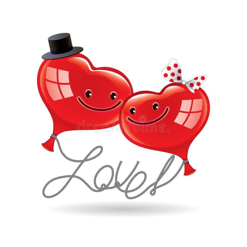 Förälskelse för hälsningkort med två ballonger i form av hjärtor vektor illustrationer