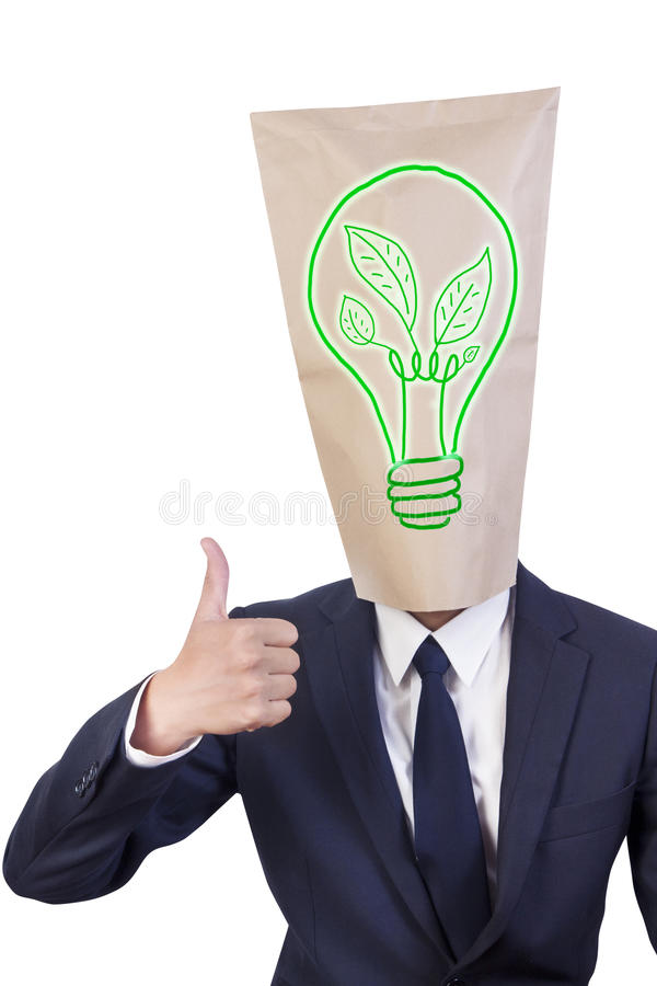 förälskelse för huvud för green för affärsmanräkningsenergi arkivfoton