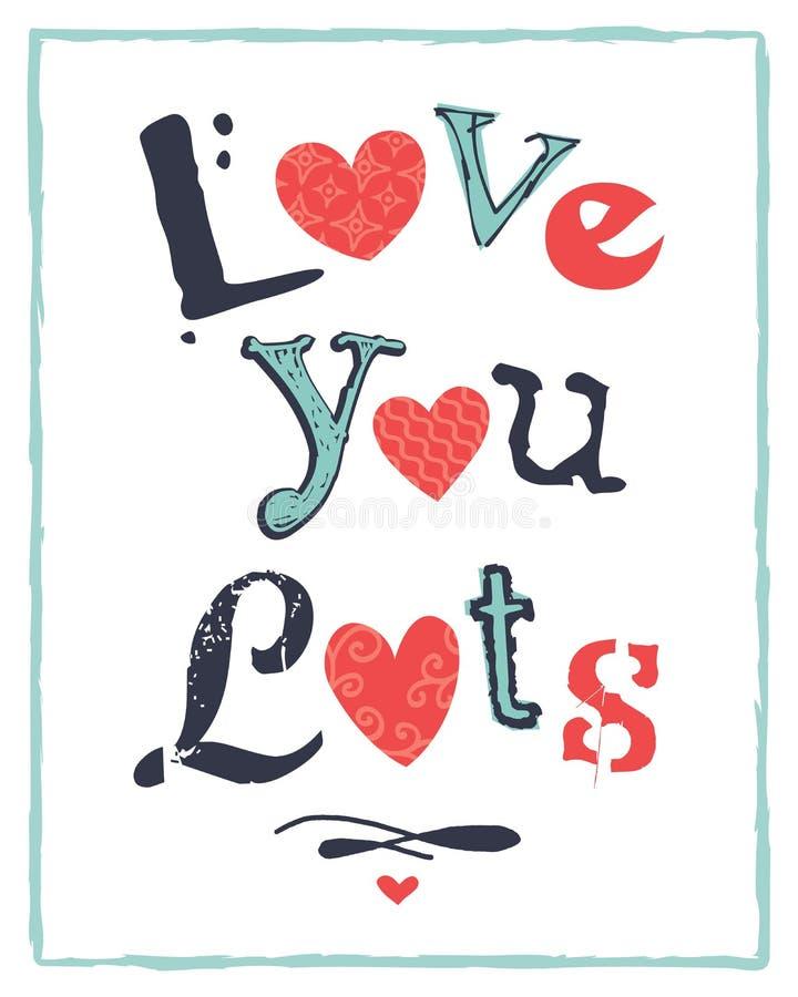 Förälskelse för kort för valentindag typografisk dig lotter royaltyfri illustrationer