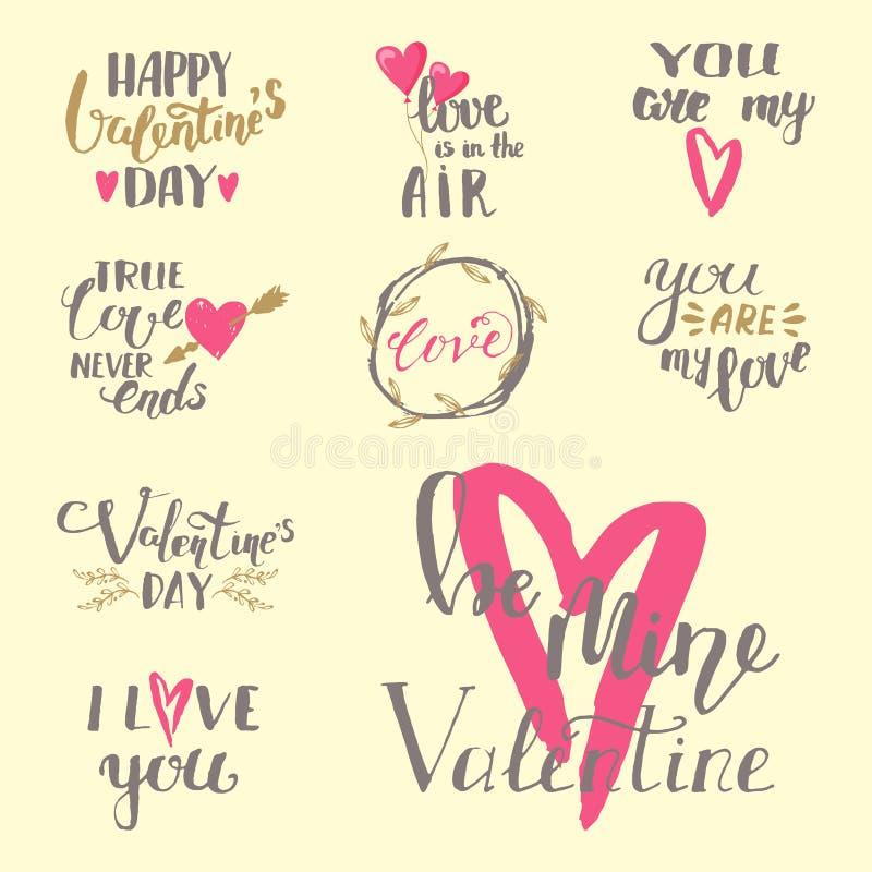 Förälskelse för vektor I smsar du drog valentin för samkopieringar som handen märker den inspirerande väncitationsteckenillustrat royaltyfri illustrationer