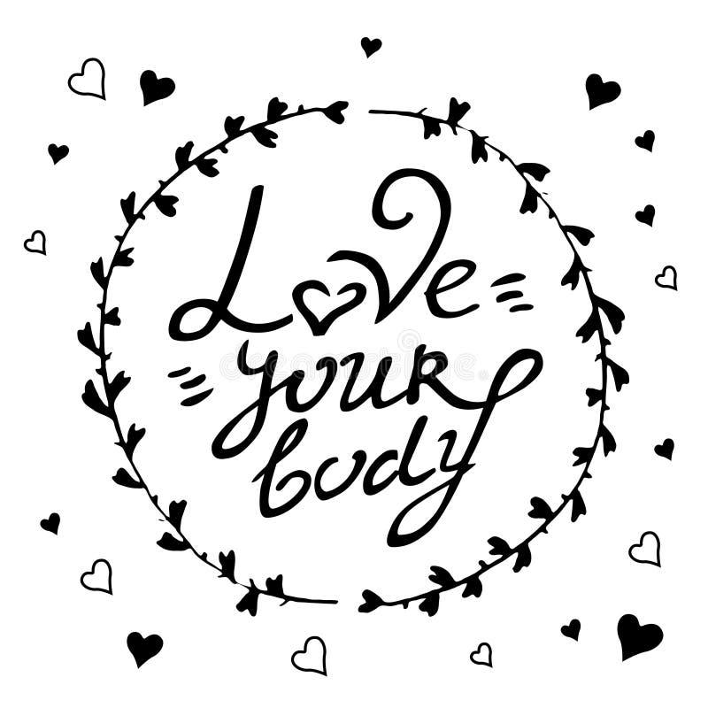 Förälskelse för vektor för kropp positiv dragen hand din kroppbokstäver i cirkel av ris och hjärtor vektor illustrationer