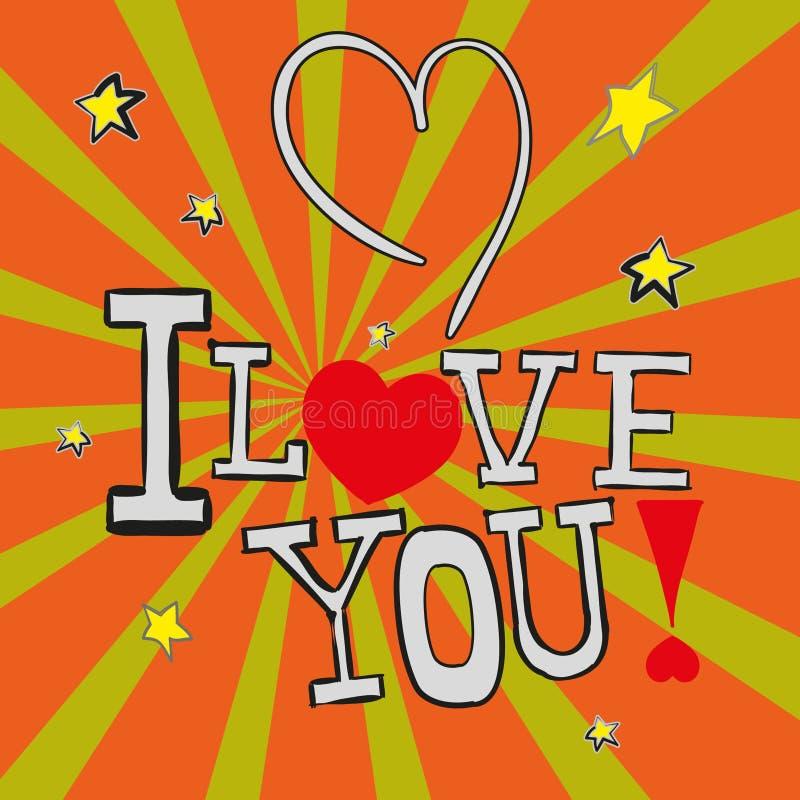 Förälskelse för vykort I dig! i vektorn EPS 10 royaltyfri bild