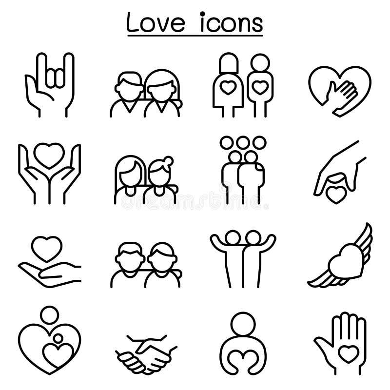 Förälskelse förhållande, vän, familjsymbolsuppsättning i den tunna linjen stil royaltyfri illustrationer
