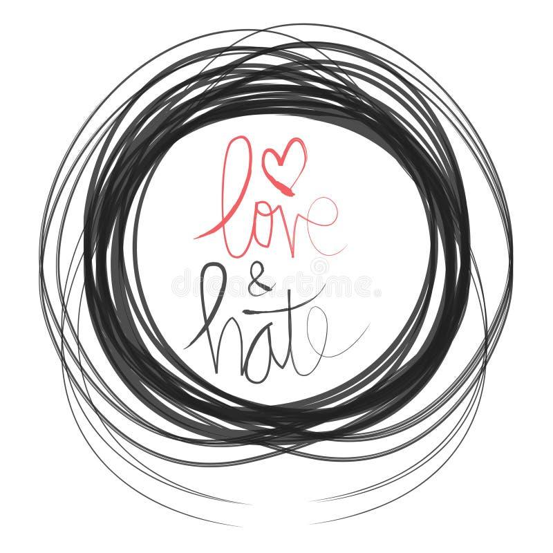 Förälskelse & hat royaltyfri illustrationer
