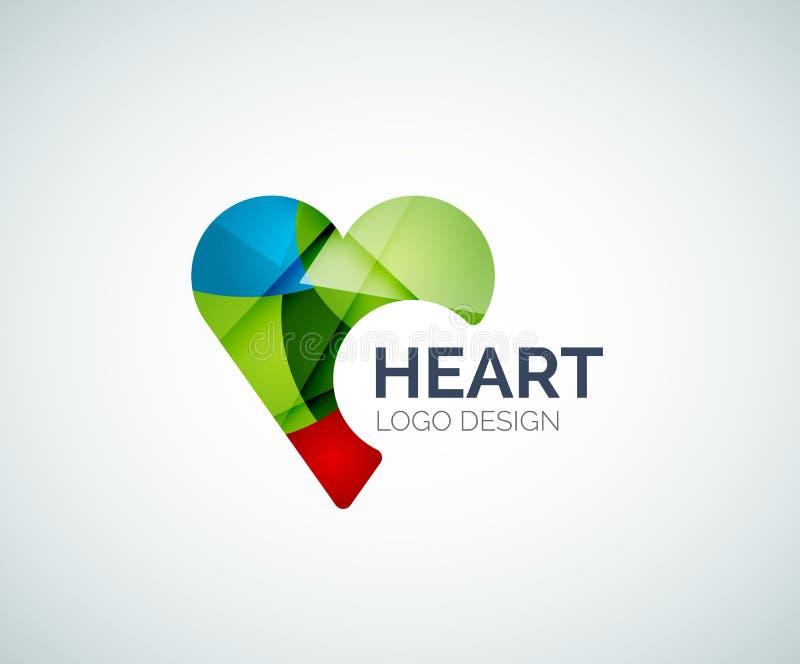 Förälskelse hjärta, som, logo som göras av färgstycken stock illustrationer