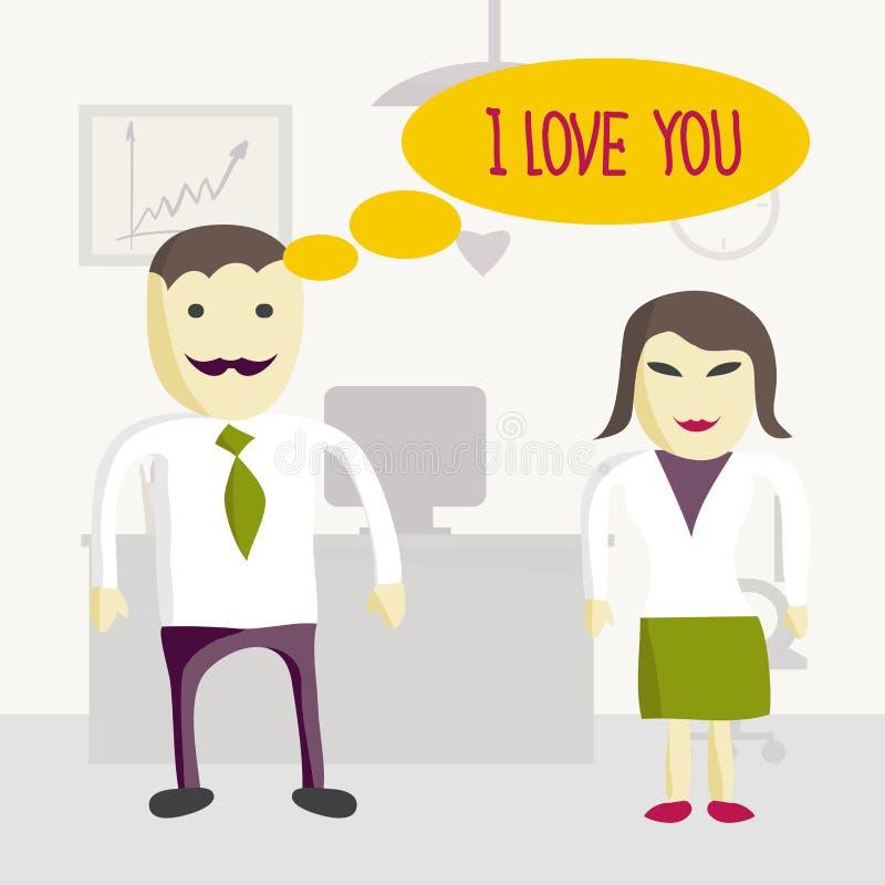 Förälskelse i regeringsställning Förälskade man och kvinna för chef för kontor två stock illustrationer