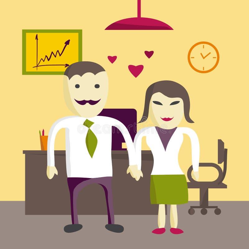 Förälskelse i regeringsställning Förälskade man och kvinna för chef för kontor två vektor illustrationer
