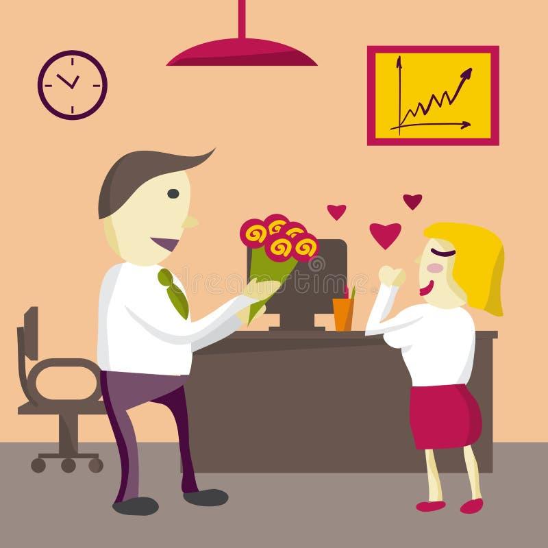 Förälskelse i regeringsställning Manchefen ger blommakvinnan i kontoret vektor illustrationer