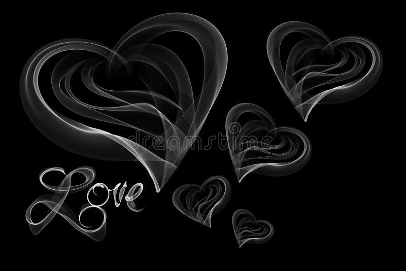 Förälskelse isolerad ordbokstäver och hjärtor som är skriftliga med brandflamman eller rök på svart bakgrund stock illustrationer