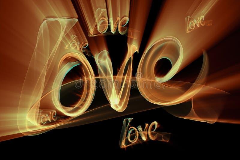 Förälskelse isolerade att märka för ord som var skriftligt med brandflamman eller rök på svart bakgrund stock illustrationer