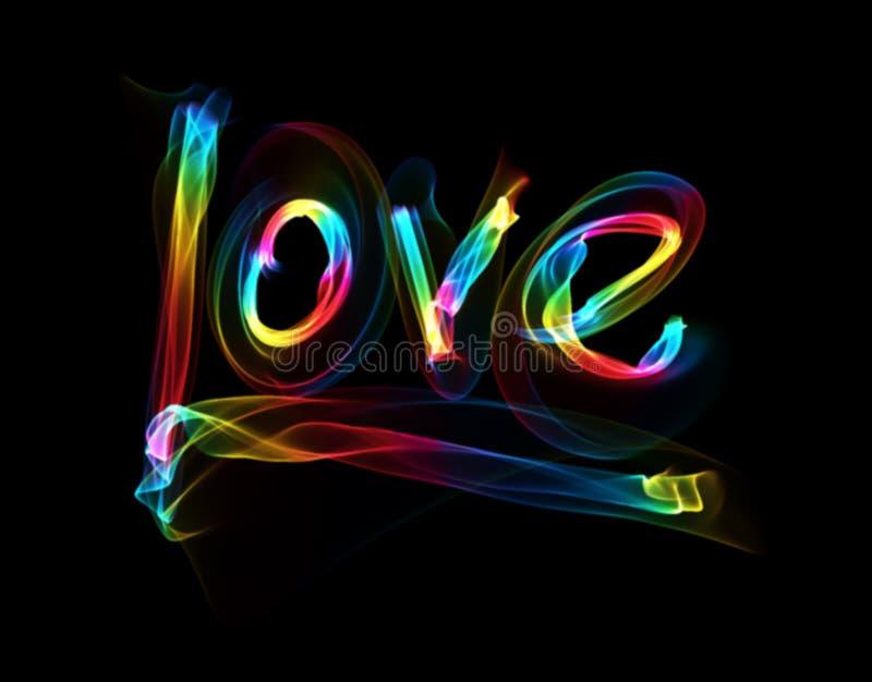 Förälskelse isolerade att märka för ord som var skriftligt med regnbågebrandflamman eller rök på svart bakgrund stock illustrationer