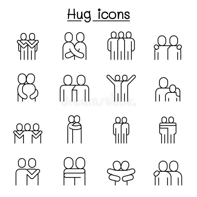 Förälskelse kram, kamratskap, förhållandesymbolsuppsättning i den tunna linjen stil vektor illustrationer