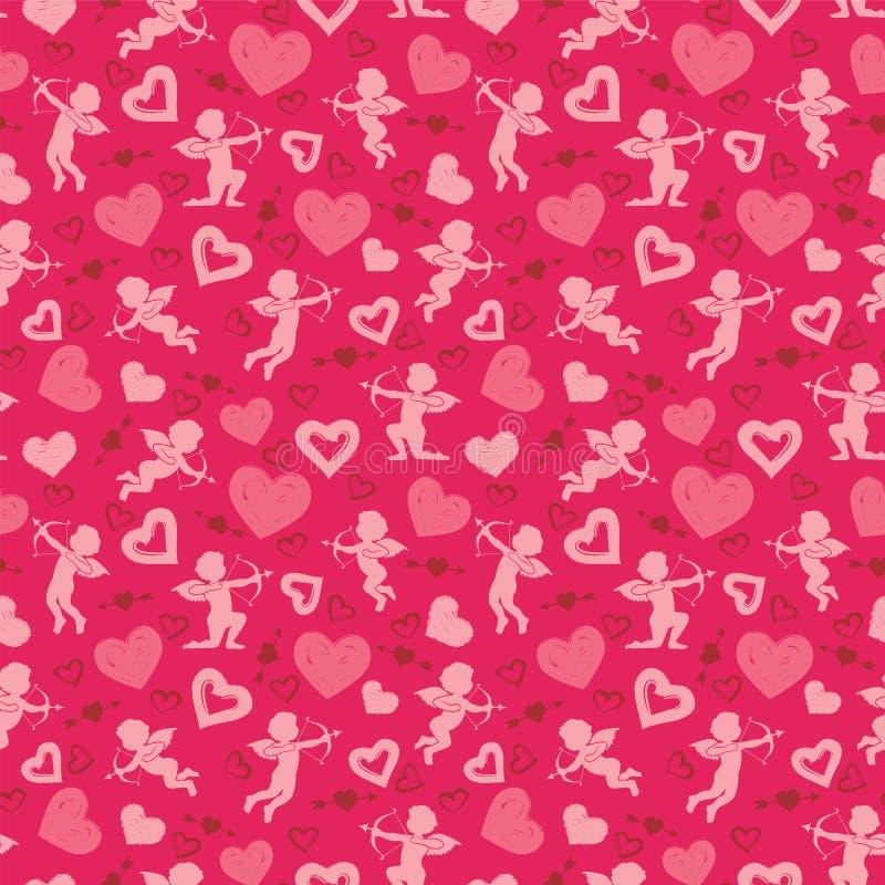 Förälskelse kupidon, kärleksaffärer, hjärtor, modell för dag för valentin` s stock illustrationer