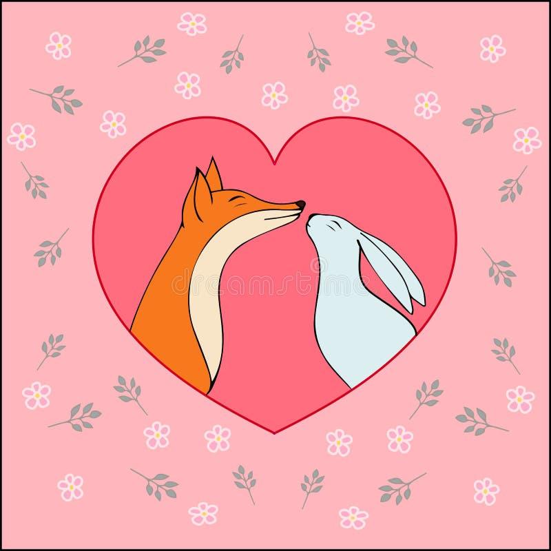 Förälskelse-lyckligt valentindagkort med den gulliga räven och kanin-materielet stock illustrationer
