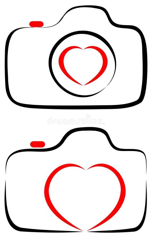 Förälskelse med fotografikamerahjärta med linjen konstlogo royaltyfri illustrationer