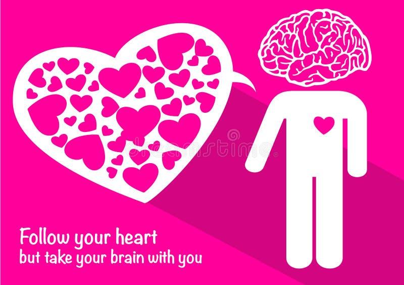 Förälskelse med lyckliga valentin för hjärna och för hjärta dag vektor illustrationer