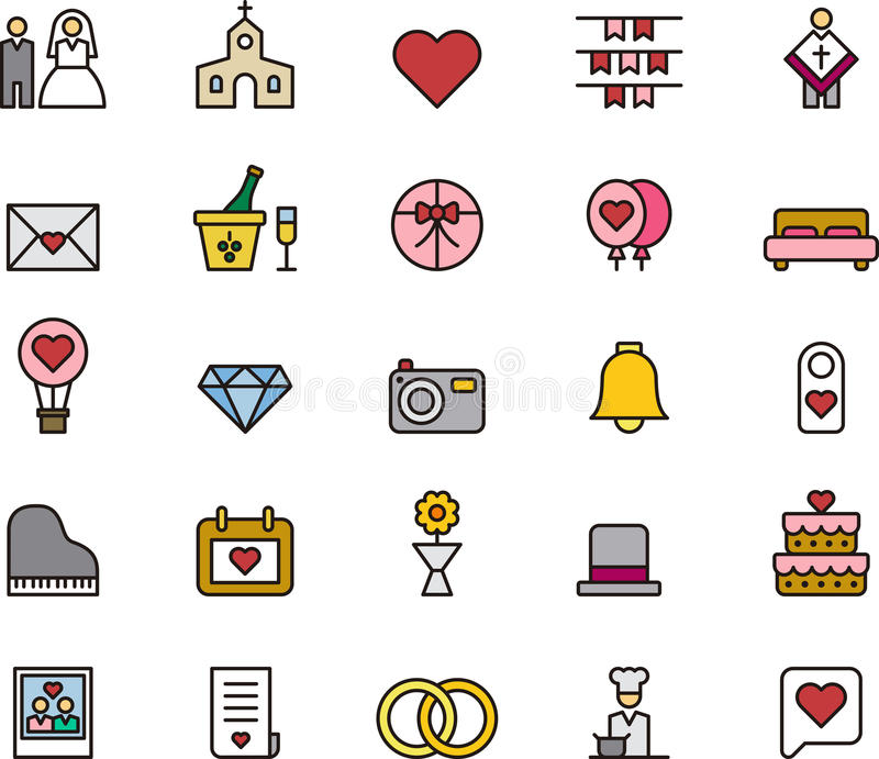 Förälskelse- och bröllopsymboler royaltyfri illustrationer