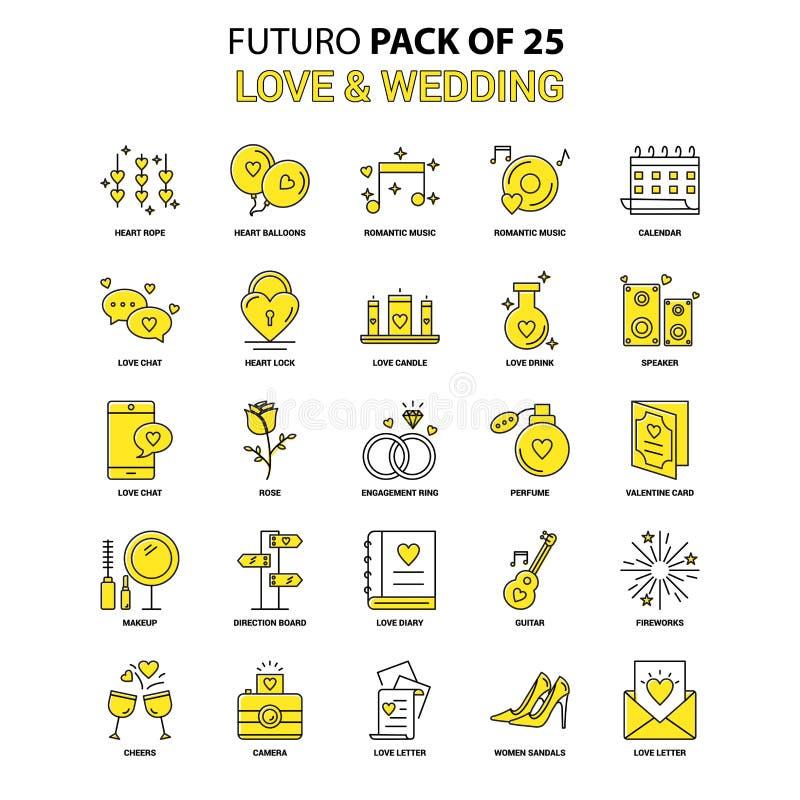 Förälskelse- och bröllopsymbolsuppsättning Gul packe för Futuro senast designsymbol royaltyfri illustrationer