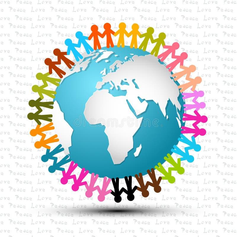 Förälskelse och fred - folk som runtom i världen rymmer händer royaltyfri illustrationer