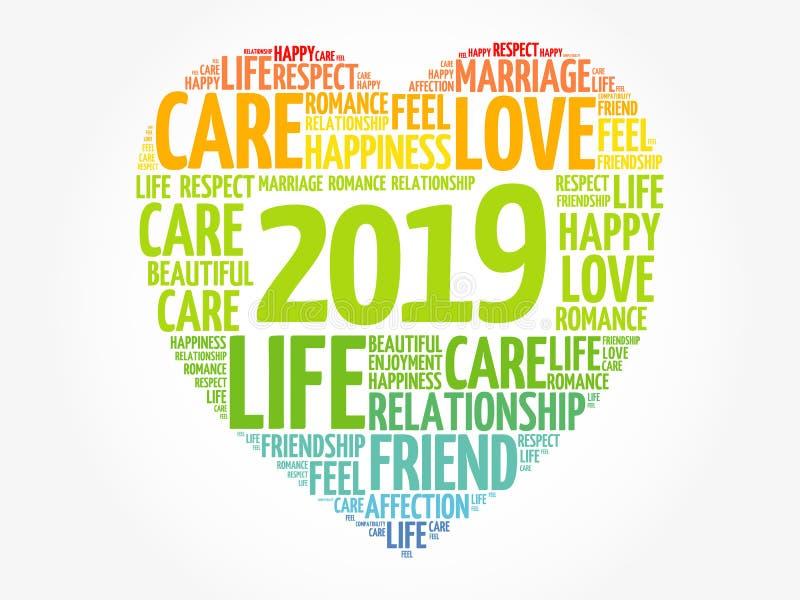 2019 förälskelse och lyckligt begrepp royaltyfri illustrationer