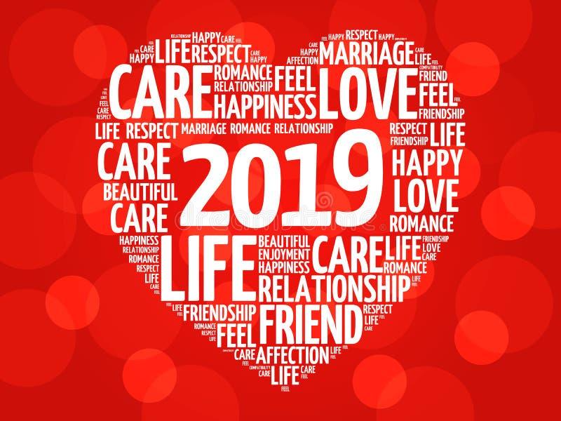 2019 förälskelse och lyckligt begrepp stock illustrationer
