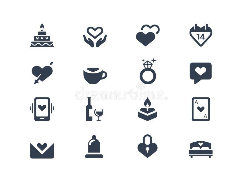 Förälskelse- och parsymboler royaltyfri illustrationer