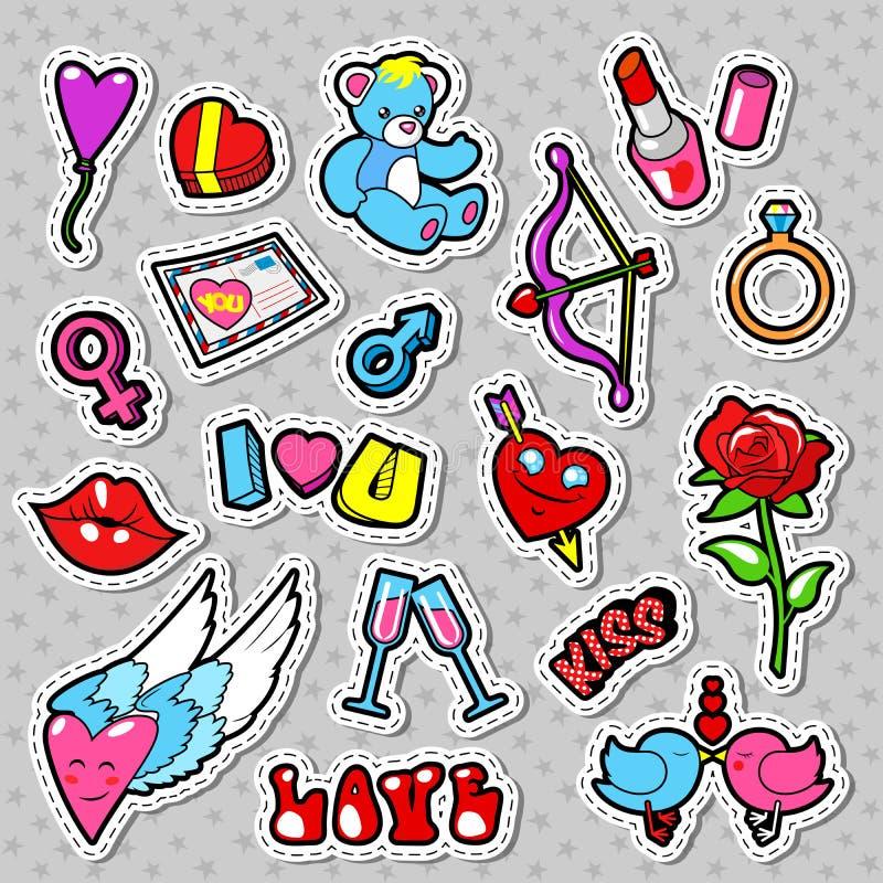 Förälskelse- och romansklotter med hjärtor, kanter och blommor Valentindagen förser med märke, lappar och klistermärkear royaltyfri illustrationer